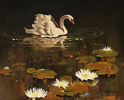 Figurativ Painting - Lonely Swan by Dusan Vukovic