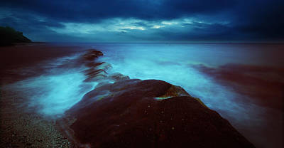 Art Print featuring the photograph Lonely Twilight Tide by Afrison Ma