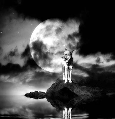 Mystery Digital Art - Lonely Wolf With Full Moon by Jaroslaw Grudzinski
