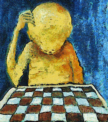 Concentration Digital Art - Lonesome Chess Player by Michal Boubin