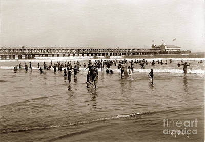 Photograph - Long Beach Beach Scene California E. A. Cohen Photo Circa 1906 by California Views Mr Pat Hathaway Archives