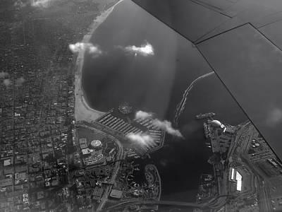 Queen Mary Digital Art - Long Beach Ca Aerial Bw by Thomas Woolworth