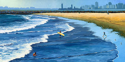 Gull Wall Art - Painting - Long Beach California by Alice Leggett