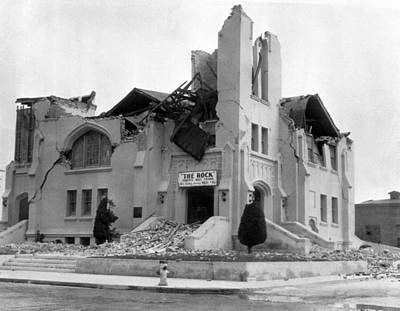 Episcopal Photograph - Long Beach Earthquake by Underwood Archives