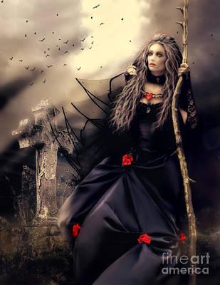 Gravestones Digital Art - Long Black Veil by Shanina Conway