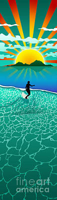 Ocean Sunset Digital Art - Long Board by Ryan Burton