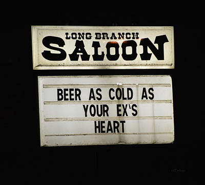 Photograph - Long Branch Saloon - Beer Sign by rd Erickson