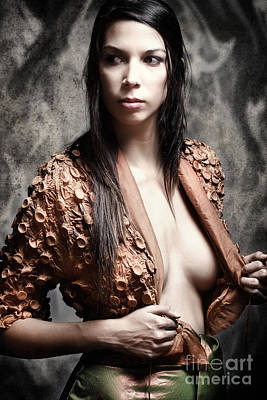 Long Dark Haired Brunette Woman With Brown Eyes Looking Away Undressing Art Print