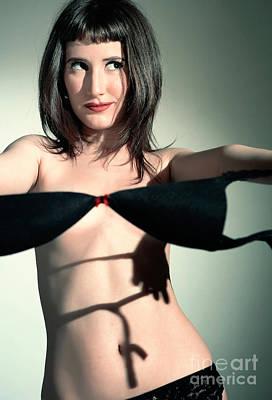 Long Dark Haired Woman In Lingerie Taking Off Black Bra Art Print