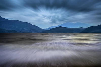 Mountain Range Photograph - Long Exposure Landscape Of Stormy Sky And Mountains  Over Lake by Matthew Gibson