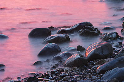 Photograph - Long Exsposure Of Rocks And Waves At Sunset Maine by Keith Webber Jr