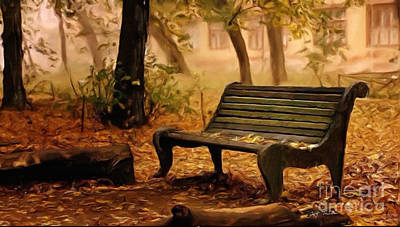 Autumn Landscape Digital Art - Long Forgotten Lovers Bench  by Heinz G Mielke