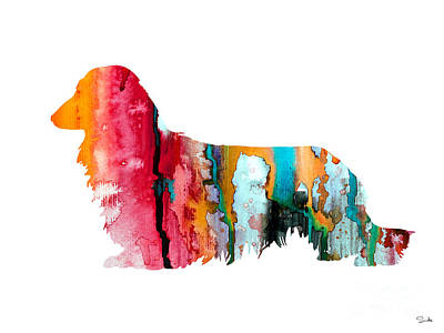 Long Haired Dachshund 2 Art Print by Watercolor Girl