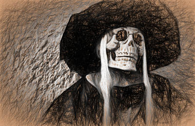 Digital Art - Long Haired Skeleton by Terry Cork