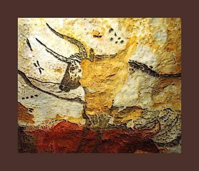 Painter Mixed Media - Long Horn Bull Lascaux Cave Upsized Little Enhanced by L Brown