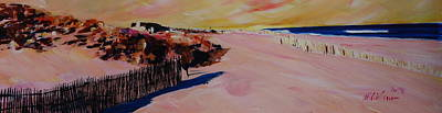 North Haven Island Painting - Long Island Beach Scene - Hamptons South Fork Beach Walk With Fence  by M Bleichner