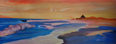 North Haven Island Painting - Long Island Beach Scene - Hamptons South Fork Beach Walk With House II  by M Bleichner