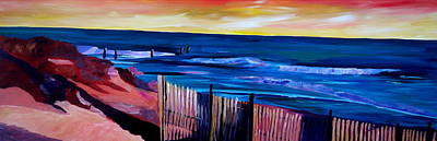 North Haven Island Painting - Long Island Beach Scene - Hamptons South Fork Beach Walk With Fence II by M Bleichner