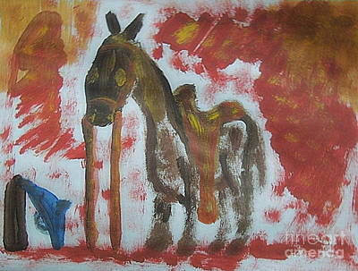 Painting - Long Knight's War Horse 1 by Richard W Linford