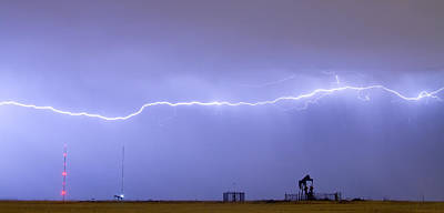 Pumpjack Photograph - Long Lightning Bolt Strike Across Oil Well Country Sky by James BO  Insogna