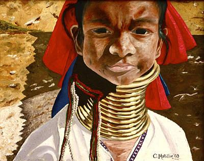 Refugee Girl Painting - Long Neck Girl by Carol Tsiatsios