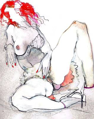 Mixed Media - Long Night In White Shoes - Erotic Art by Carolyn Weltman