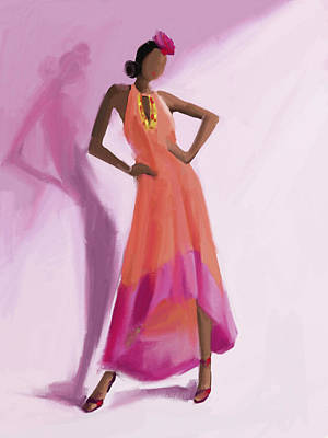 Digital Painting - Long Orange And Pink Dress Fashion Illustration Art Print by Beverly Brown