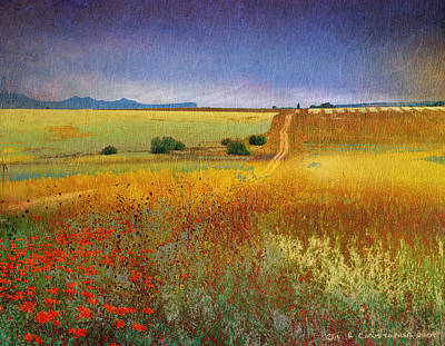 Dirt Roads Mixed Media - Long Road Late Summer by R christopher Vest