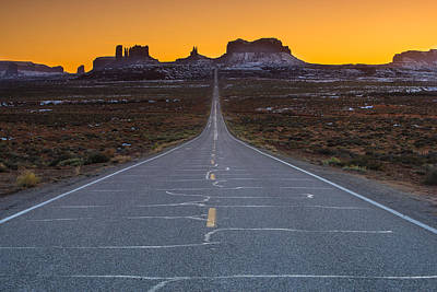Long Road To Monument Valley Art Print by Larry Marshall