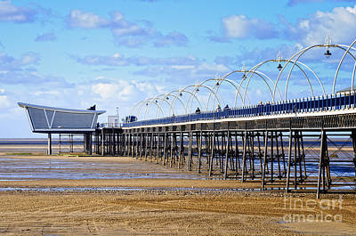 Long Seaside Pier At Southport - England Art Print by David Hill