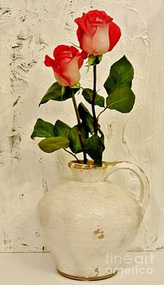 Long Stemmed Red Roses In Pottery Print by Marsha Heiken