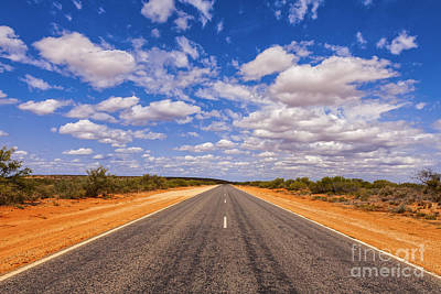 Cloud Photograph - Long Straight Road Australia Outback by Colin and Linda McKie