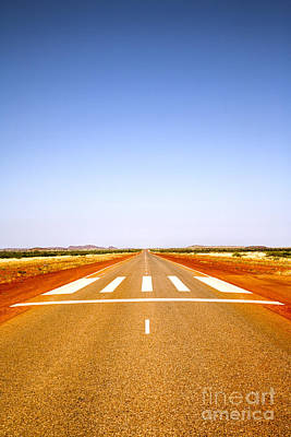 Long Straight Road Marked Out As Emergency Runway Art Print