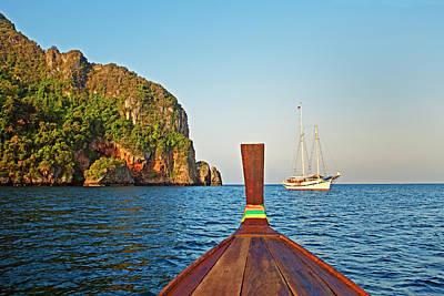 Longtail Wall Art - Photograph - Long Tail Boat Koh Phi Phi, Thailand by John W Banagan