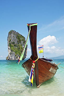 Longtail Wall Art - Photograph - Long Tail Boat, Koh Poda, Krabi by John W Banagan