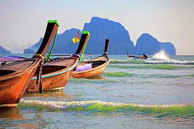 Longtail Wall Art - Photograph - Long Tail Boats, Aonang Beach, Krabi by John W Banagan