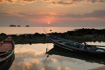 Longtail Wall Art - Photograph - Long Tail Boats At Sunset, Taling Ngam by Ben Pipe / Robertharding