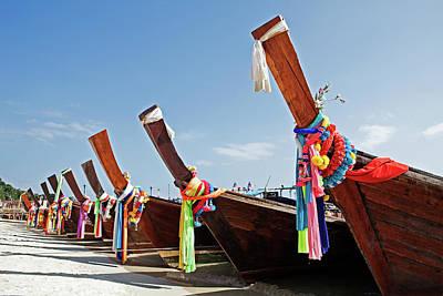 Longtail Wall Art - Photograph - Long Tail Boats Koh Phi Phi Don by John W Banagan