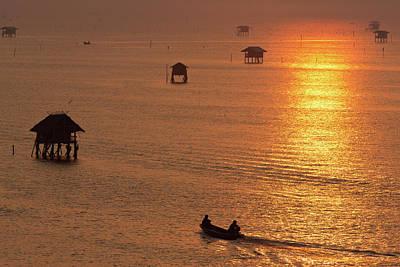 Longtail Wall Art - Photograph - Long Tailed Boat At Sunrise by Monthon Wa