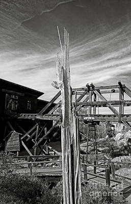 Photograph - Long Time Gold Mine Sentinel In Black And White by Lee Craig