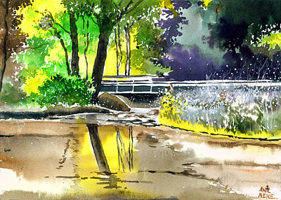 Spring Scenery Drawing - Long Time No See by Anil Nene