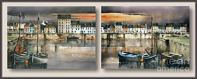 Painting - Long Walk Diptych  Galway by Val Byrne