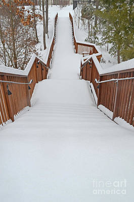 Digital Art - Long Way Down The Snow Covered Steps by Eva Kaufman