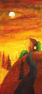 Hill Top Village Painting - Long Way To Home by Nirdesha Munasinghe