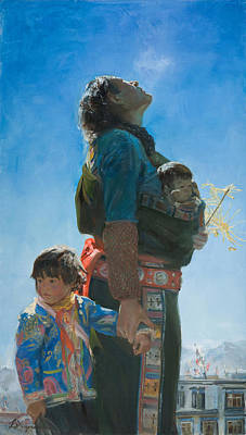 Tibet Painting - Long Way by Victoria Kharchenko