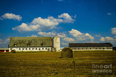 Photograph - Long White Barn With Hay Bale Crivitz Wisconsin by Deborah Smolinske