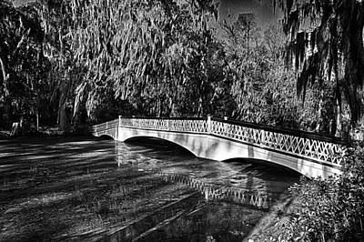 Photograph - Long White Bridge Black And White by Bill Barber
