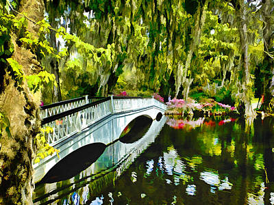 Digital Art - Long White Bridge Faux Painting by Bill Barber