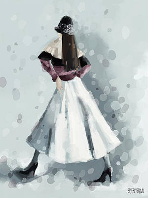 Winter Scenes Painting - Long White Skirt And Black Sequined Hat Fashion Illustration Art Print by Beverly Brown