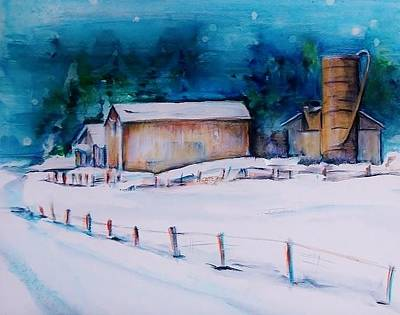 Barn In Snow Painting - Long Winding Road by Jean Cormier